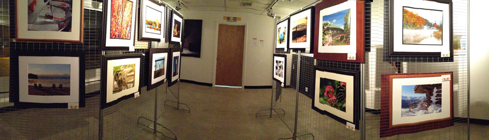 The work of our Photography Beyond the Basics displayed for a Gallery Art Show